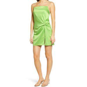 Topshop NEW Bright Green Satin Twist Slip Dress
